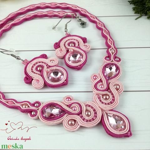 Rózsaszín elegancia sujtás nyaklánc karkötő fülbevaló szett esküvő alkalmi koszorúslány örömanya násznagy ünnepi elegáns - Meska.hu