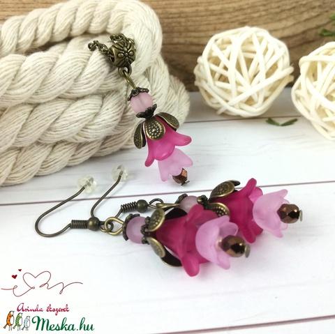 Tavaszi virágok pink rózsaszín virágos nyaklánc fülbevaló szett - Meska.hu