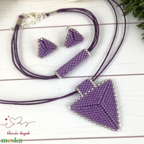 Sötétlila háromszög nyaklánc karkötő fülbevaló egyedi gyöngyékszer anyák napja ballagás évzáró karácsony szülinap névnap - Meska.hu