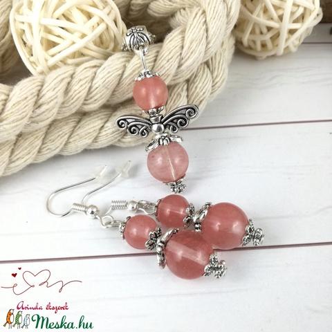 Cseresznyekvarc angyal ásvány nyaklánc fülbevaló szett - Meska.hu
