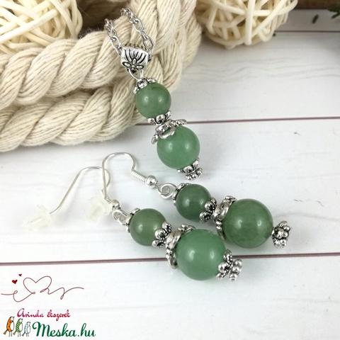 Zöld aventurin ásvány nyaklánc fülbevaló szett - Meska.hu