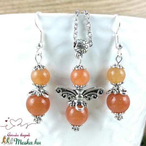 Narancs aventurin angyal ásvány nyaklánc fülbevaló szett - Meska.hu