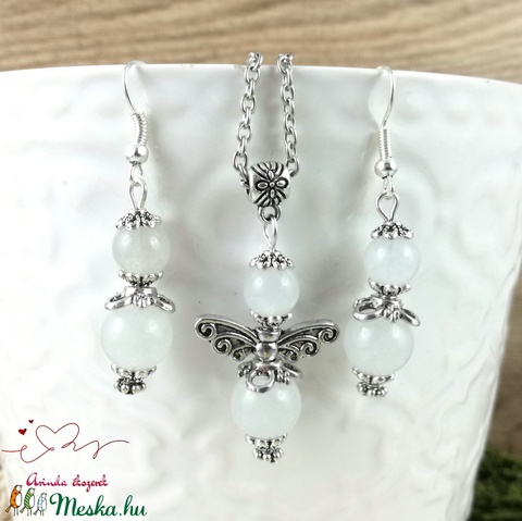 Jade angyal ásvány nyaklánc fülbevaló szett - Meska.hu