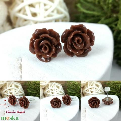 Apró barna rózsás antiallergén nemesacél acél fülbevaló tavaszi nyári ajándék nőnek lánynak hétköznapra esküvőre - Meska.hu
