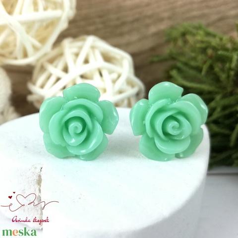 Zöld rózsás antiallergén nemesacél acél fülbevaló tavaszi nyári ajándék nőnek lánynak hétköznapra esküvőre - Meska.hu