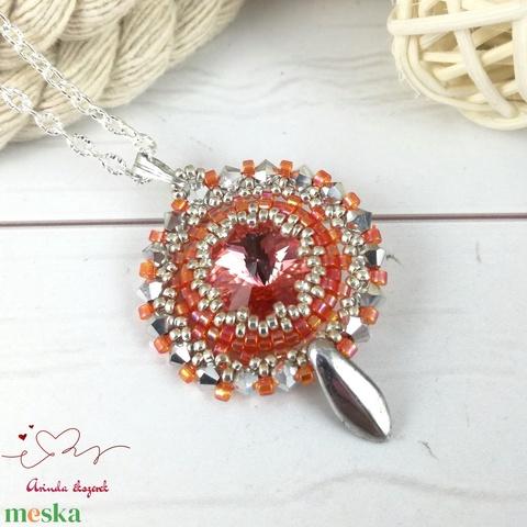 Csillogó álmok narancs swarovski nyaklánc egyedi kristály esküvő alkalmi koszorúslány örömanya menyasszony násznagy - Meska.hu