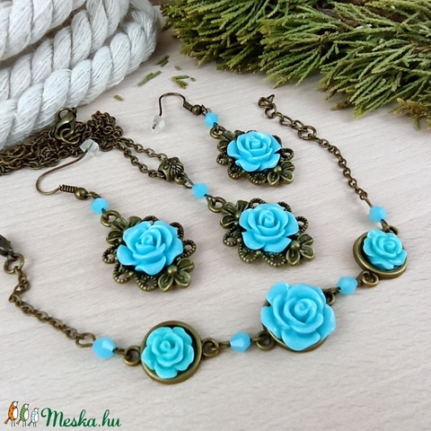 #23 kék rózsás szett nyaklánc fülbevaló karkötő vintage esküvő alkalmi koszorúslány örömanya menyasszony násznagy - Meska.hu