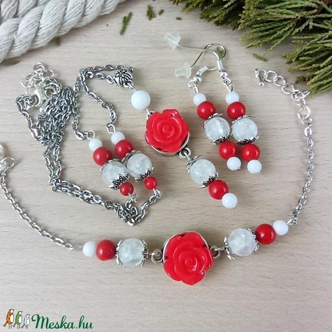 #30 piros rózsás szett nyaklánc fülbevaló karkötő vintage esküvő alkalmi koszorúslány örömanya menyasszony násznagy - Meska.hu