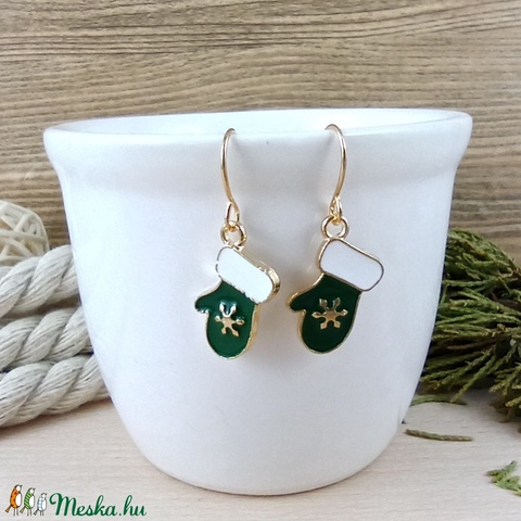 Zöld kesztyű fülbevaló karácsonyra mikulásra télire adventi kalendáriumba nőnek lánynak - Meska.hu
