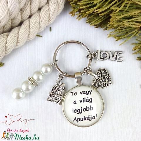 Te vagy a világ legjobb apukája feliratos üveglencsés kulcstartó táskadísz karácsony szülinap névnap - Meska.hu