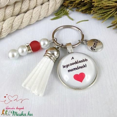 A legcsodásabb mamának feliratos üveglencsés kulcstartó táskadísz karácsony  - Meska.hu
