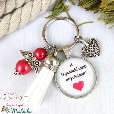 A legcsodásabb anyukának feliratos üveglencsés kulcstartó táskadísz karácsony  - Meska.hu