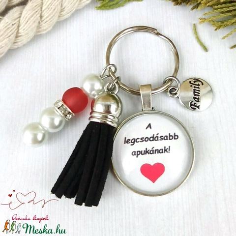 A legcsodásabb apukának feliratos üveglencsés kulcstartó táskadísz karácsony  - Meska.hu
