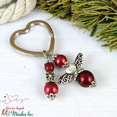 Piros angyalkás szív kulcstartó táskadísz ajándékcsomagolással anyák napja ballagás évzáró pedagógus karácsony szülinap - Meska.hu