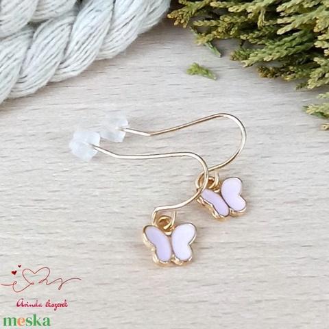Apró pillangó fülbevaló tavaszra nyárra nőnek lánynak - ékszer - fülbevaló - lógó fülbevaló - Meska.hu
