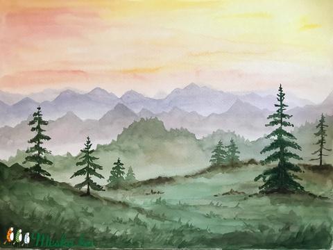 Tavaszi naplemente - eredeti akvarell (30x40) (ArnoldMonika) - Meska.hu