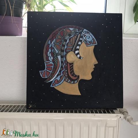 Szűz (Virgo) különleges, egyedi tervezésű akril festmény, 40x40cm (Artbuda) - Meska.hu