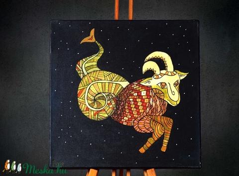 Bak (Capricorn) különleges, egyedi tervezésű akril festmény, 40x40cm (Artbuda) - Meska.hu