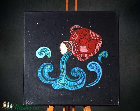 Vízöntő (Aquarius) különleges, egyedi tervezésű akril festmény, 40x40cm (Artbuda) - Meska.hu