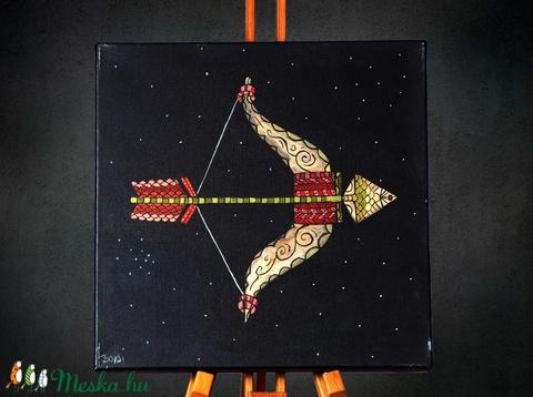 Nyilas (Sagittarius) különleges, egyedi tervezésű akril festmény, 40x40cm (Artbuda) - Meska.hu