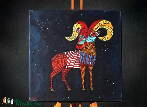 Kos (Aries) különleges, egyedi tervezésű akril festmény, 40x40cm (Artbuda) - Meska.hu