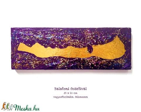 Balatoni fesztivál festmény / egyedi, csillogó, hologramos, arany, lila, bohémos - Meska.hu
