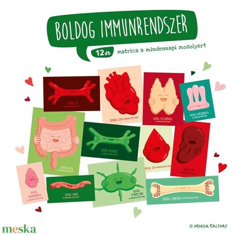 Boldog Immunrendszer - matrica csomag / szív / lép / nyirokcsomó / nyirokrendszer / szeretet / immunerősítés / szervek - Meska.hu