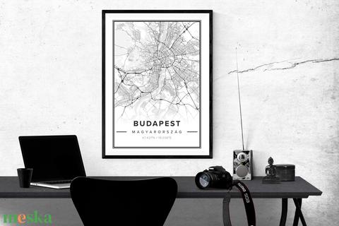 Budapest Térkép - Elegáns / Modern stílus - Falikép / poszter A4 - Meska.hu