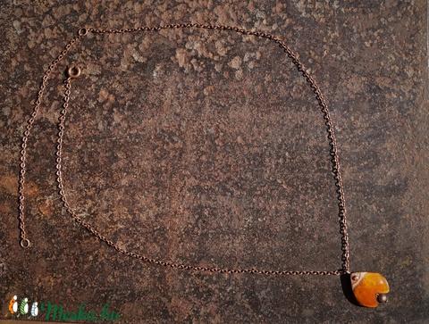 Tulipán formájú tűzzománc medál, kis méretű, narancs (aszter) - Meska.hu