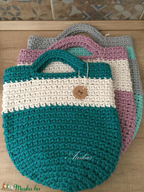 Türkiz zöld horgolt táska, Tote Bag (Auskas) - Meska.hu