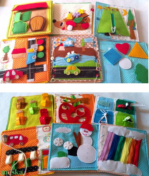 Okosdoboz, csendeskönyv lapokból, autókkal, állataokkal, gyümölcsökkel és zöldségekkel, fejlesztő játék, utazós játék - Meska.hu