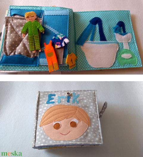 Babakönyv, matatós, öltöztetős babával, készségfejlesztő és logikai játék, utazós játék, puha könyv - Meska.hu
