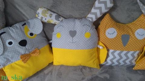 Sárga, szürke fehér kombó baba ágynemű, fonott rácsvédővel és állatos párnákkal választható színekben (Babam) - Meska.hu