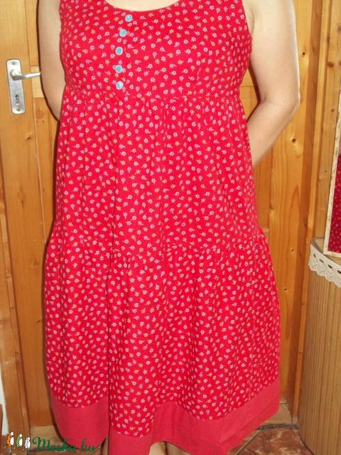 Piros mintás nyári vászon ruha - Meska.hu