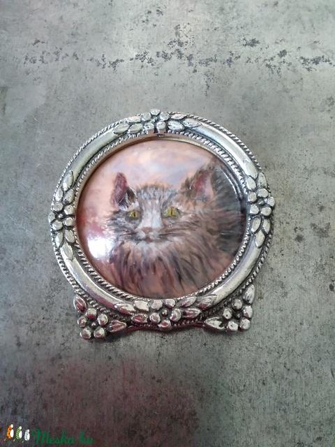 Festő zománc technikával készült cicás miniatűr (Bagika) - Meska.hu