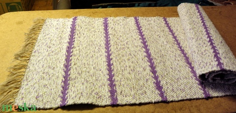 Lila-fehér cirmos, lila rozmaring mintával. 46 cm. KESKENY (balintkatalin) - Meska.hu