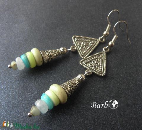 Kalkutta - féldrágakő és tibeti ezüst fülbevaló - Meska.hu