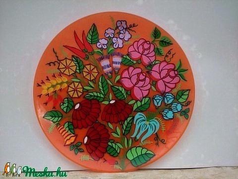 Kézzel festet kalocsai üveg tányér . - Meska.hu