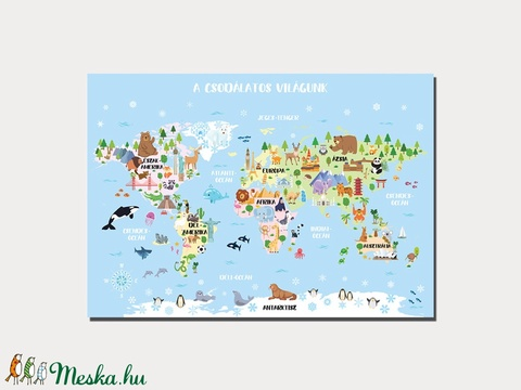 Állatos világtérkép - babaszoba dekoráció, földgömb, állatos atlasz poszter keret nélkül - Meska.hu