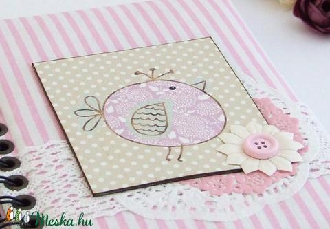 PRETTY PINK napló, csíkos madárkás (BeHappyBooks) - Meska.hu