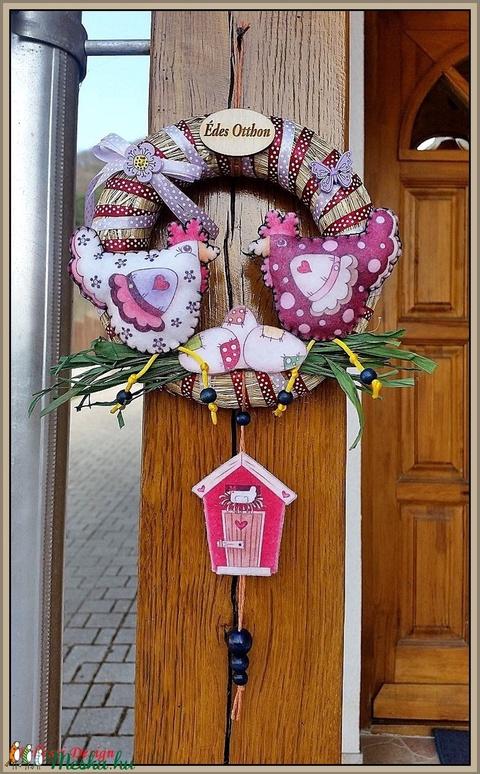 Tavaszi, nyári, húsvéti ajtódísz, kopogtató, kicsi - tyúkok - Meska.hu