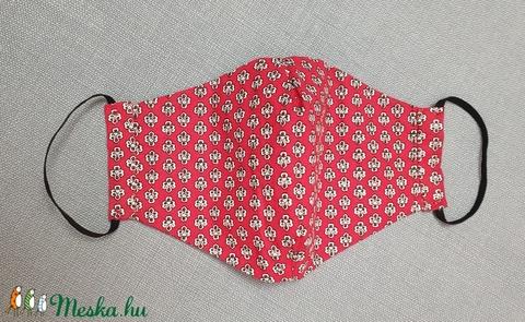 Piros textil arcmaszk, vidám mintás pamut arcmaszk, 2 rétegű maszk - Meska.hu