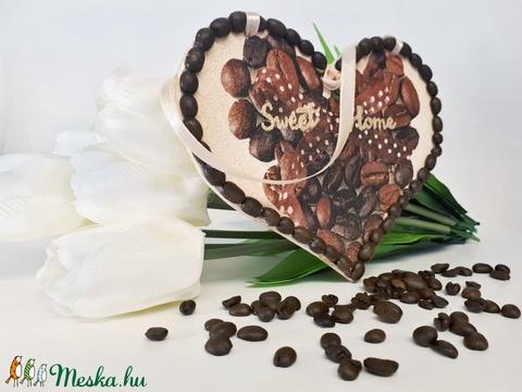 Kávészemes édes otthon szives ajtódísz ajándék kávéimádóknak - Meska.hu