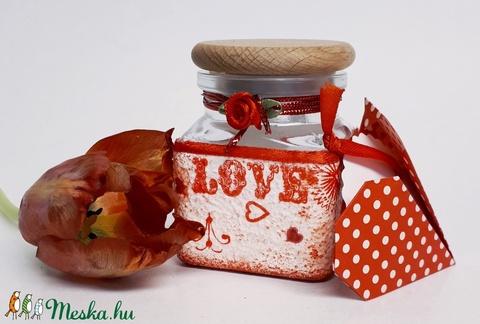 Piros szív mandala fűszertartó ajándék valentin napra, nőnapra, anyák napjára, névnapra, szülinapra.   - otthon & lakás - konyhafelszerelés - fűszertartó - Meska.hu