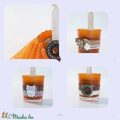 Narancs teamécses, üveg gyertyatartó mécses a narancs élénk, őszi szín kedvelőinek, 3 féle.  (Biborvarazs) - Meska.hu
