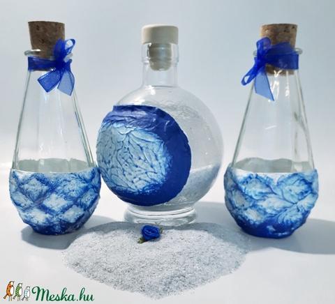 Királykék homokceremónia kellék,  különleges festett üvegek homokszóráshoz esküvői ajándék, nászajándék, évfordulóra. - Meska.hu