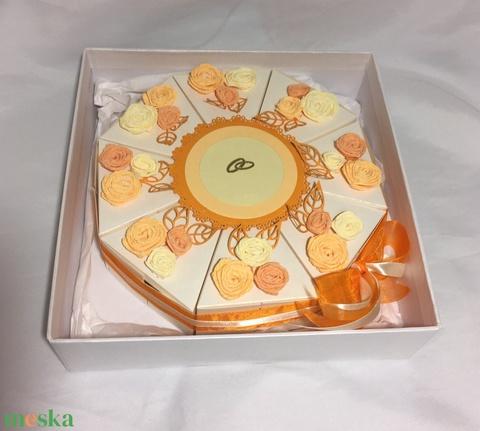 Nászajándék átadó torta díszdobozban  - Meska.hu