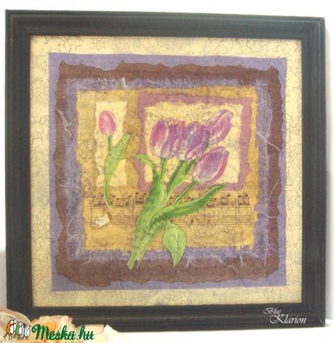 Tulipános kép fekete kerettel (blueklarion) - Meska.hu
