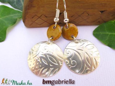 Borostyán függője - ezüstözött és tűzzománc fülbevaló - egyedi tervezésű ékszer (bmgabriella) - Meska.hu