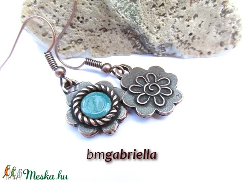 Türkiz virág - Egyedi tervezésű kézműves ékszerszett (bmgabriella) - Meska.hu